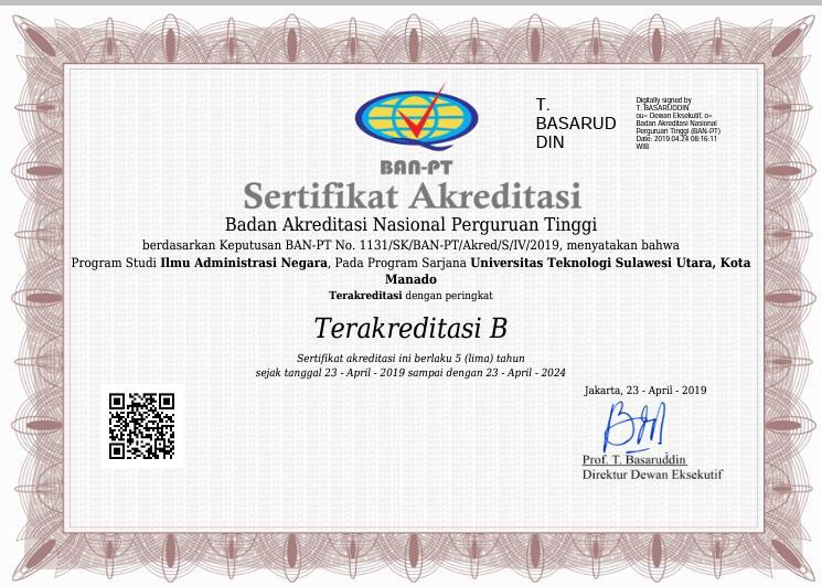 Prodi Ilmu Administrasi Negara UTSU Manado Raih Akreditasi B